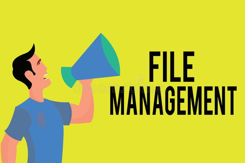 显示文件管理的文字笔记 提供用户界面处理数据的企业照片陈列的计算机程序 库存例证