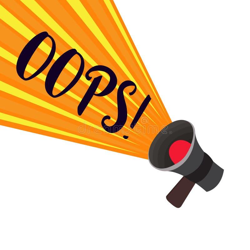 显示文字的笔记哟 企业照片陈列用于显示差错或较小事故道歉的公认 向量例证