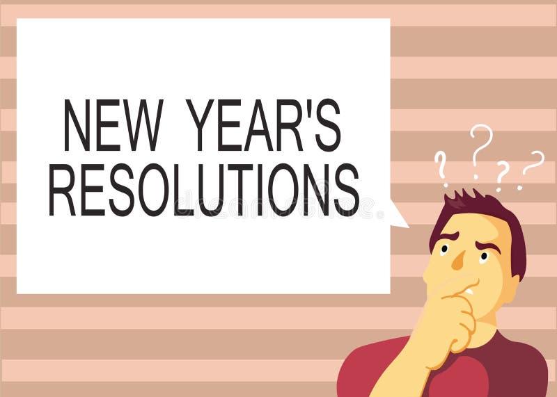 显示新年s的文本标志是决议 完成或改善的概念性照片Wishlist明细表 库存例证