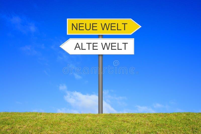 显示新的世界旧世界德语的路标 库存照片