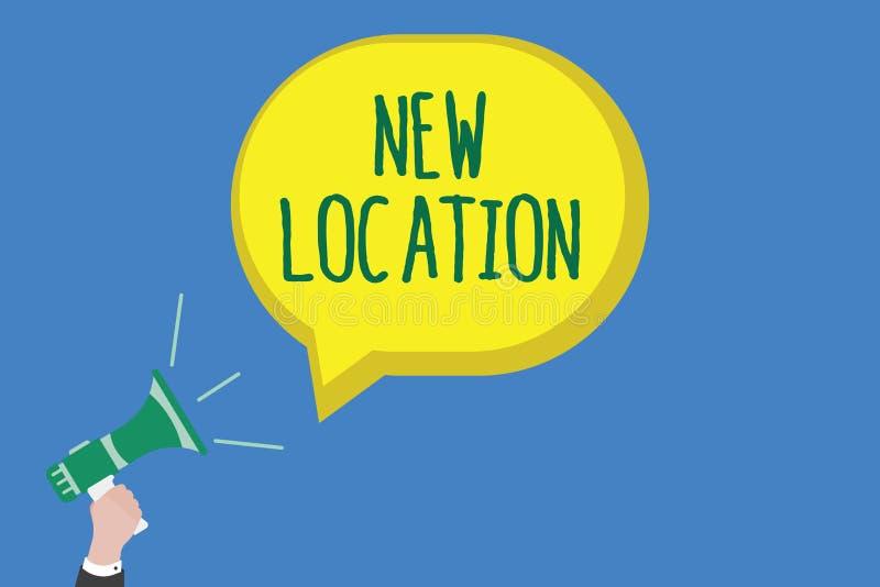 显示新的地点的文字笔记 建立企业的照片陈列位于一个新的地方Get和在家或 向量例证