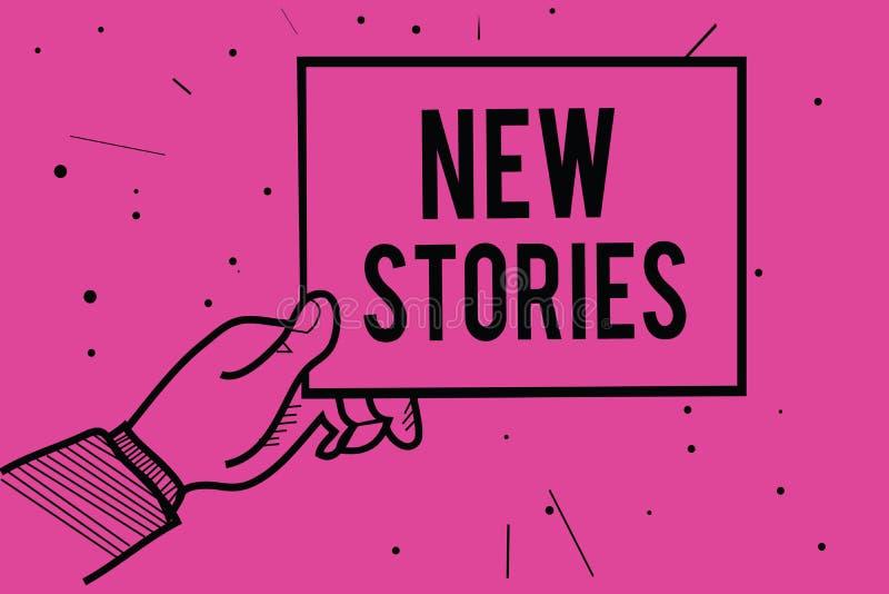 显示新的故事的概念性手文字 陈列虚构或真正的人民和事件的企业照片为娱乐告诉 库存例证