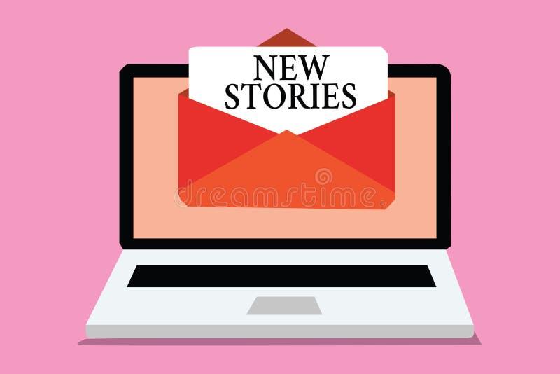 显示新的故事的概念性手文字 陈列虚构或真正的人民和事件的企业照片为娱乐告诉 向量例证