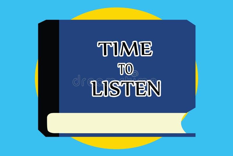 显示时刻的文本标志听 概念性照片给予对某人或某事的关注为了听见 向量例证