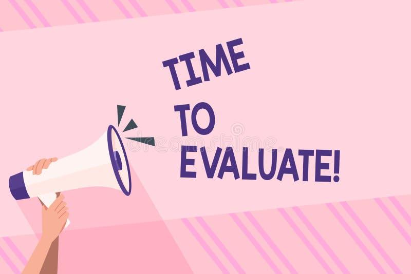 显示时刻的文本标志评估 概念性照片确定设置值数额估价法官或确定人 向量例证
