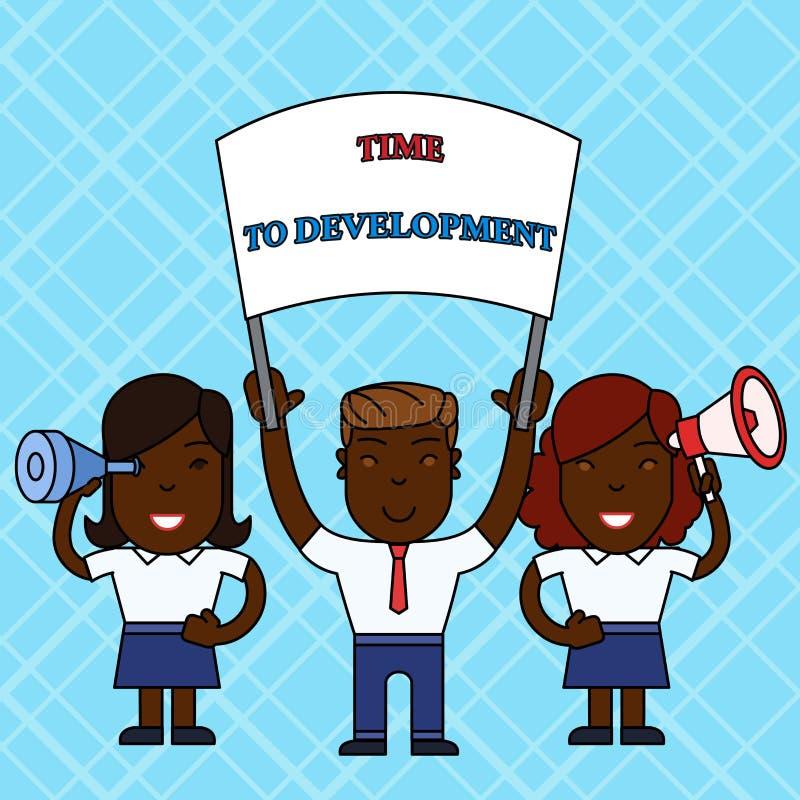 显示时间的文本标志对发展 概念性照片在期间公司增长的时间或开发人 皇族释放例证