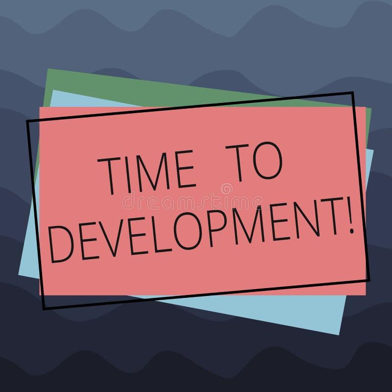 显示时间的概念性手文字对发展 企业照片文本时间在哪家公司期间的增长 库存例证