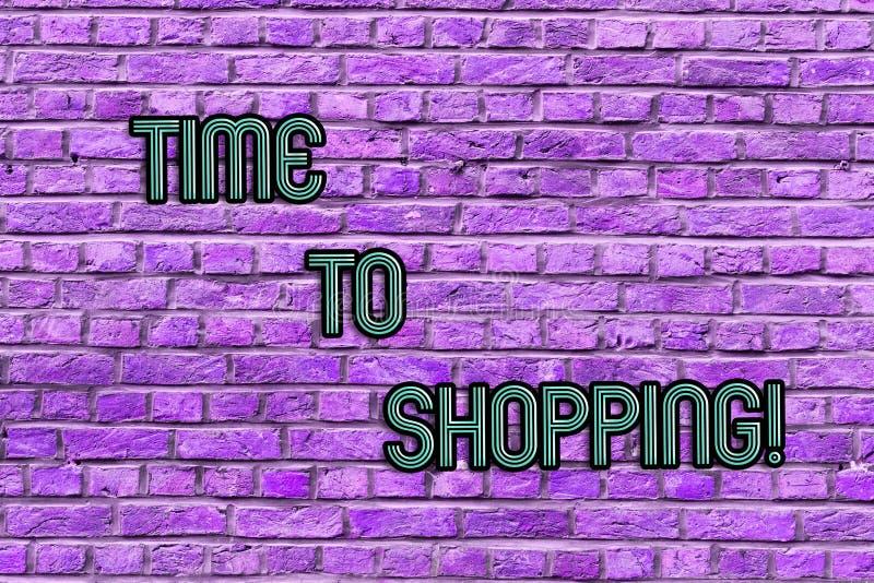 显示时间的概念性手文字对购物 企业照片购买的新产品文本片刻在商店销售 库存例证