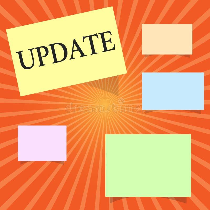 显示更新的文本标志 最新概念性的照片使某事更加现代或更加更新的新版本 向量例证