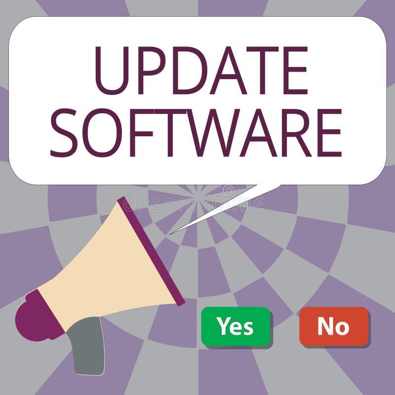 显示更新软件的文本标志 替换节目的概念性照片用同样产品的一个新版本 向量例证