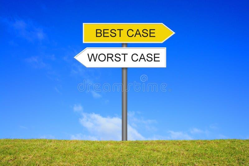 显示最佳的案件最坏情况的路标 库存图片