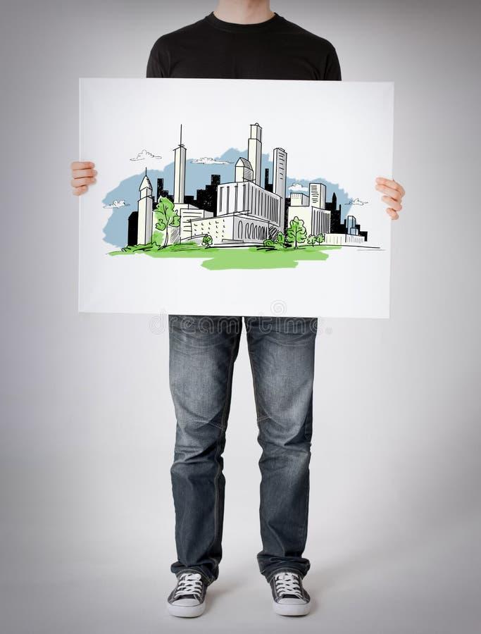显示有城市剪影的人白板 库存图片