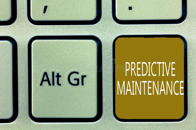 显示有预测性的维护的文本标志 概念性照片预言设备故障情况什么时候也许发生 库存照片