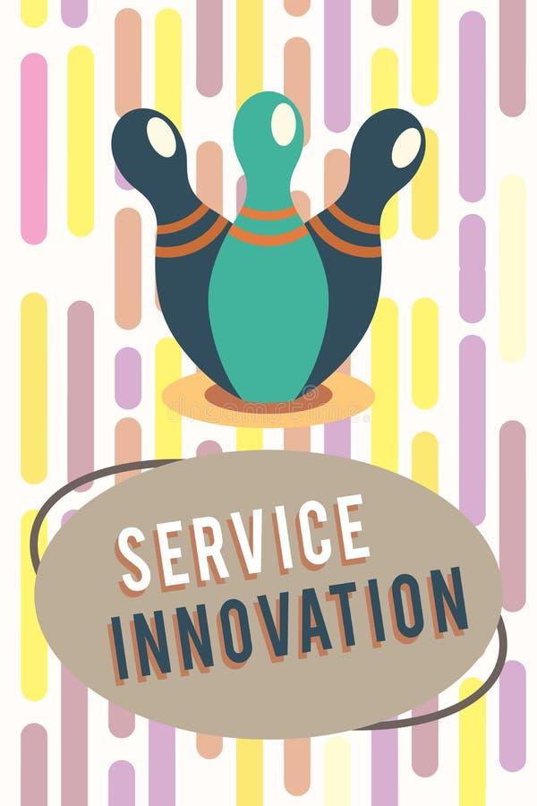 显示服务创新的文本标志 概念性照片改善的产品系列服务介绍即将来临的趋向 库存例证