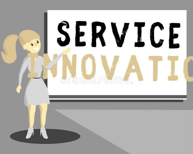 显示服务创新的概念性手文字 企业照片文本改善的产品系列服务介绍 库存例证