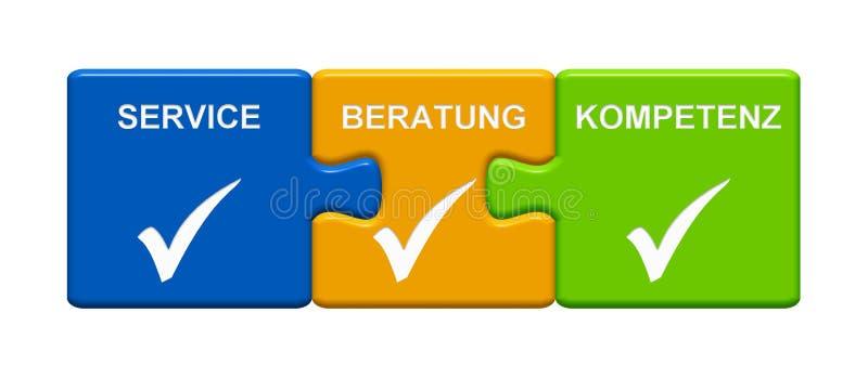 显示服务咨询的专门技术德语的3个难题按钮 皇族释放例证