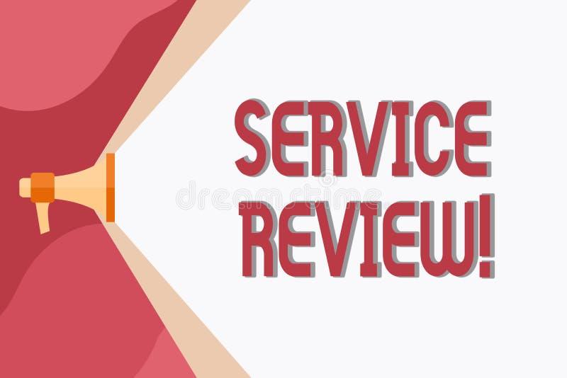 显示服务回顾的概念性手文字 陈列顾客的企业照片一个选择对公司s估计是 库存例证