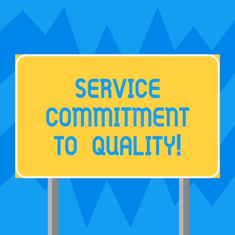 显示服务承诺的文本标志对质量 概念性照片优秀优质好协助空白长方形室外 库存例证