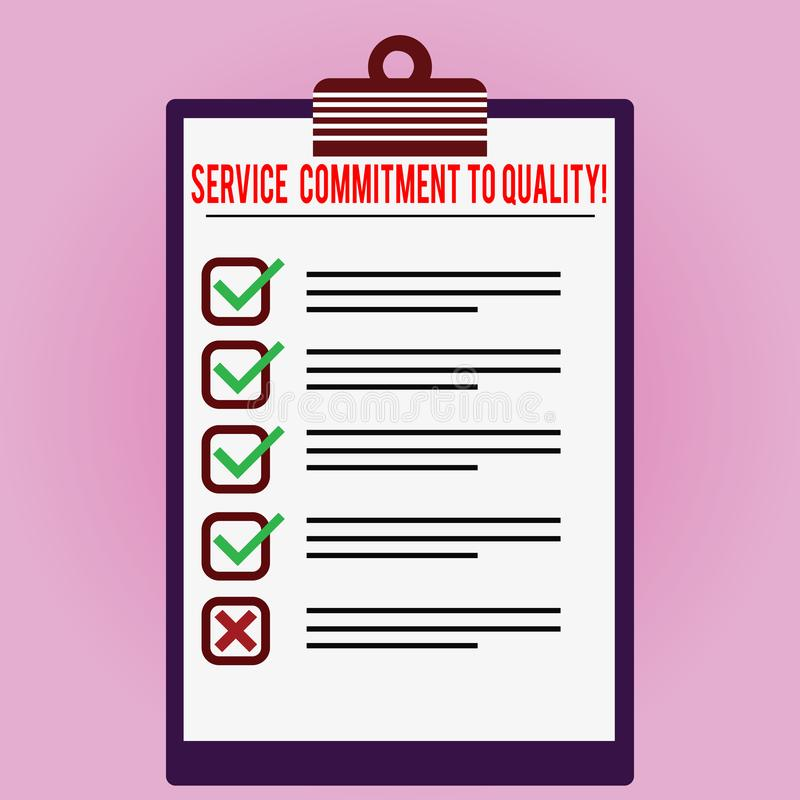 显示服务承诺的文本标志对质量 概念性照片优秀优质好协助被排行的颜色 向量例证