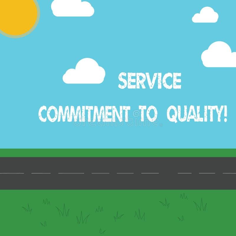 显示服务承诺的概念性手文字对质量 陈列优秀优质好的企业照片 向量例证