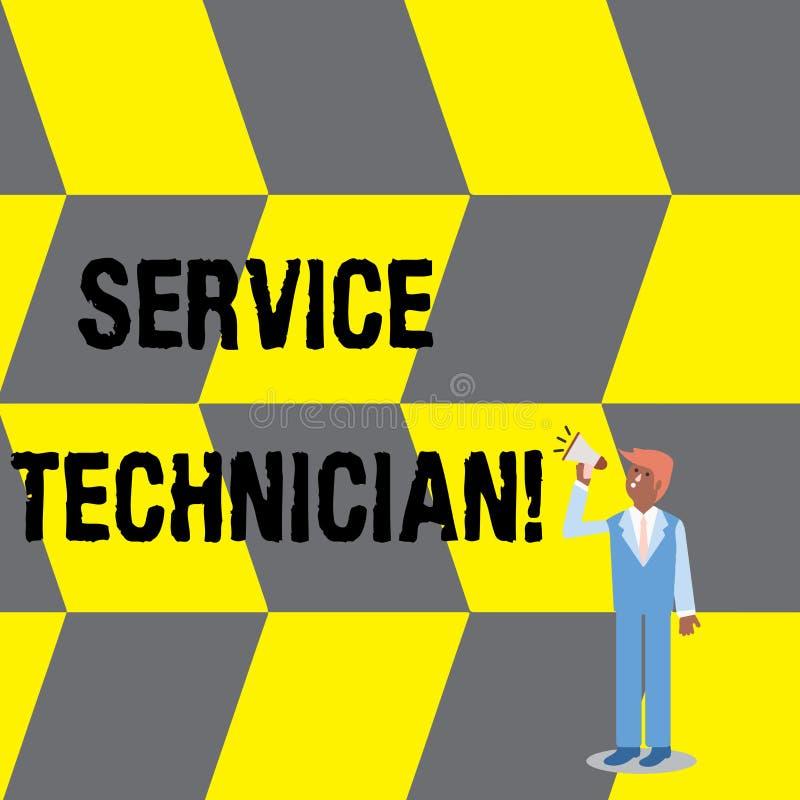 显示服务技术员的文本标志 处理所有在站点设施和修理任务商人的概念性照片 免版税库存图片