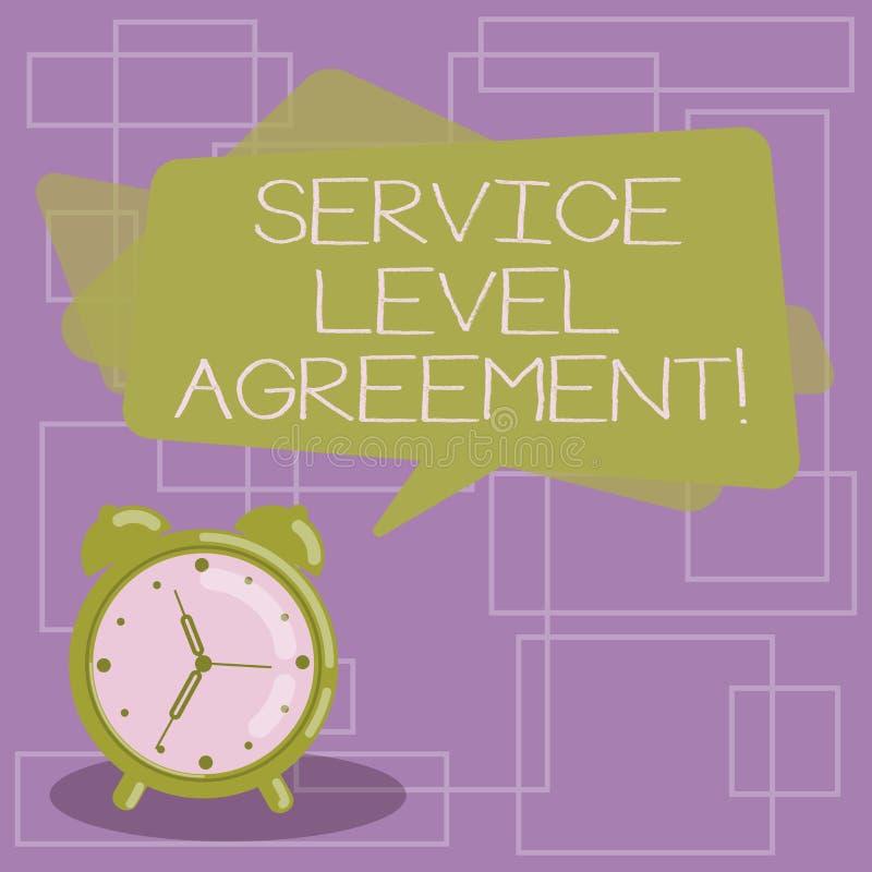 显示服务水准协议的文本标志 在提供商和客户空白之间的概念性照片承诺 皇族释放例证