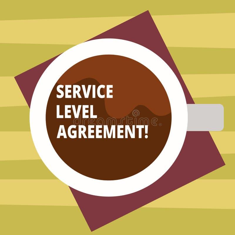 显示服务水准协议的文本标志 在提供商和客户顶视图之间的概念性照片承诺 皇族释放例证