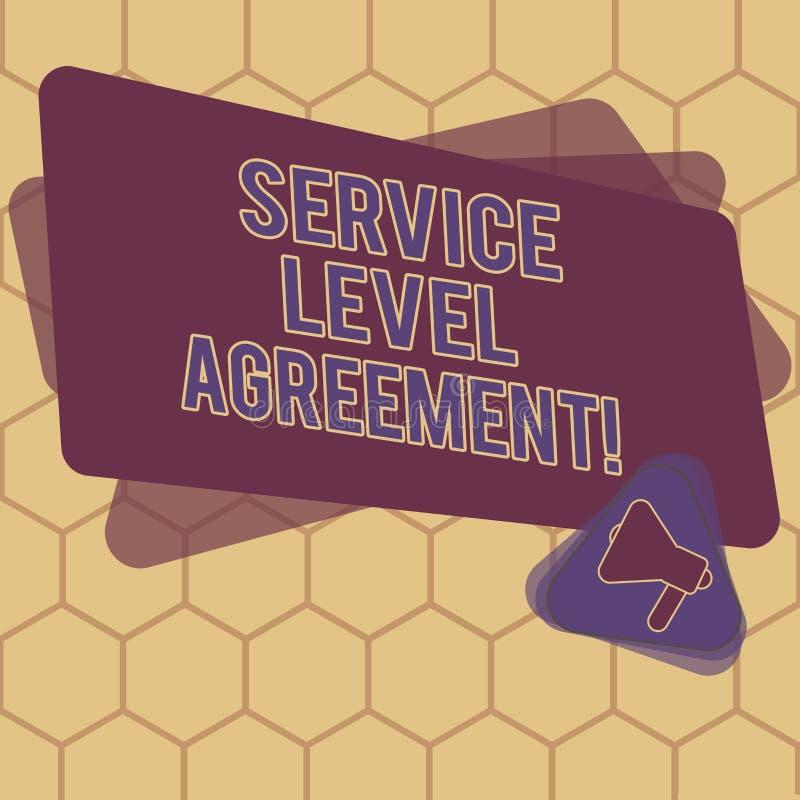 显示服务水准协议的概念性手文字 企业照片在提供商和a之间的文本承诺 向量例证