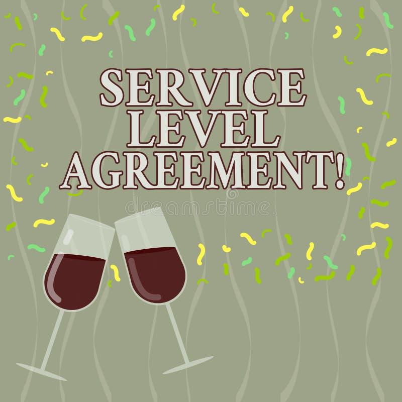 显示服务水准协议的概念性手文字 企业照片在提供商和a之间的文本承诺 皇族释放例证
