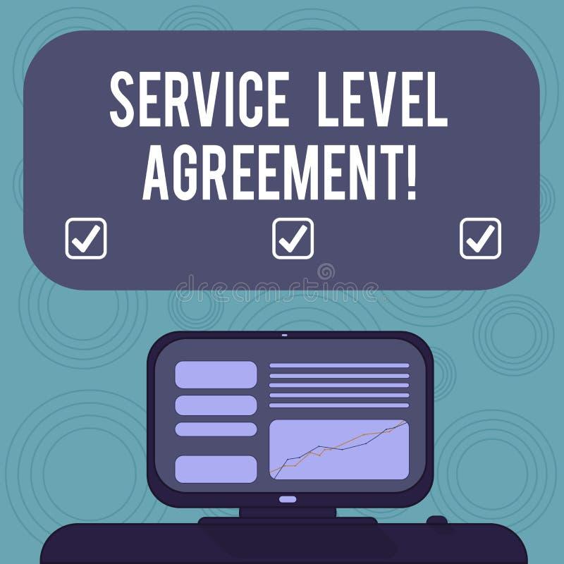 显示服务水准协议的概念性手文字 在提供商之间的企业照片陈列的承诺 皇族释放例证