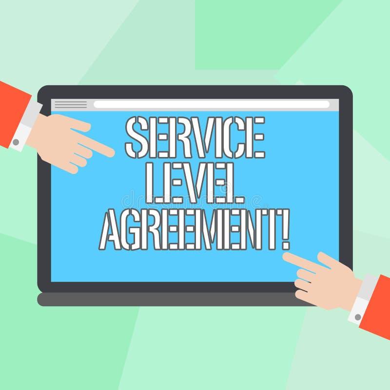 显示服务水准协议的概念性手文字 在提供商之间的企业照片陈列的承诺 向量例证