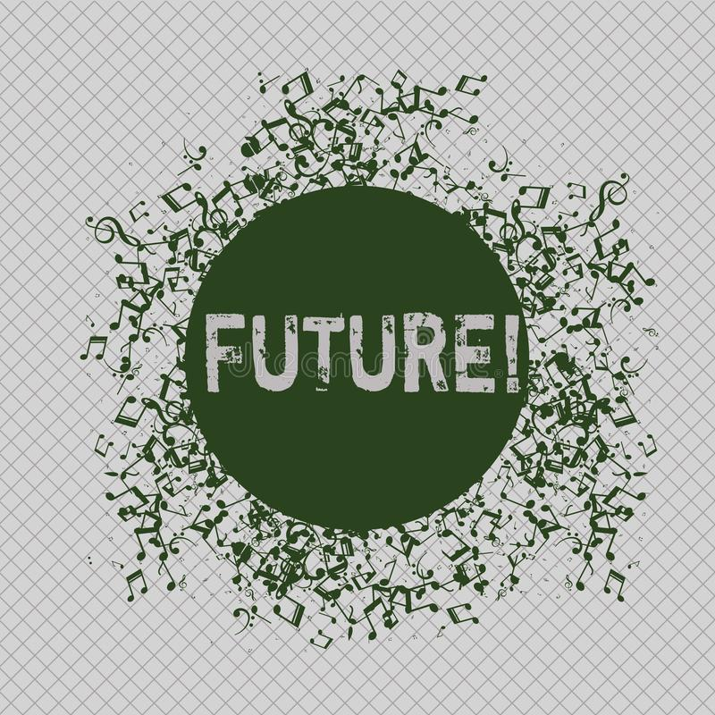 显示未来的文字笔记 跟随将的现在事件的企业照片陈列的时段 库存例证