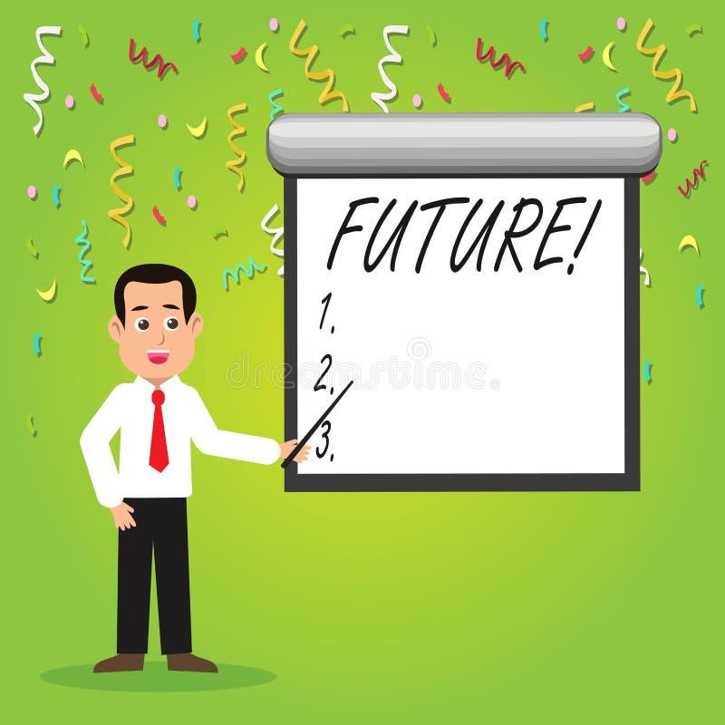 显示未来的概念性手文字 跟随现在事件的企业照片陈列的时段 向量例证