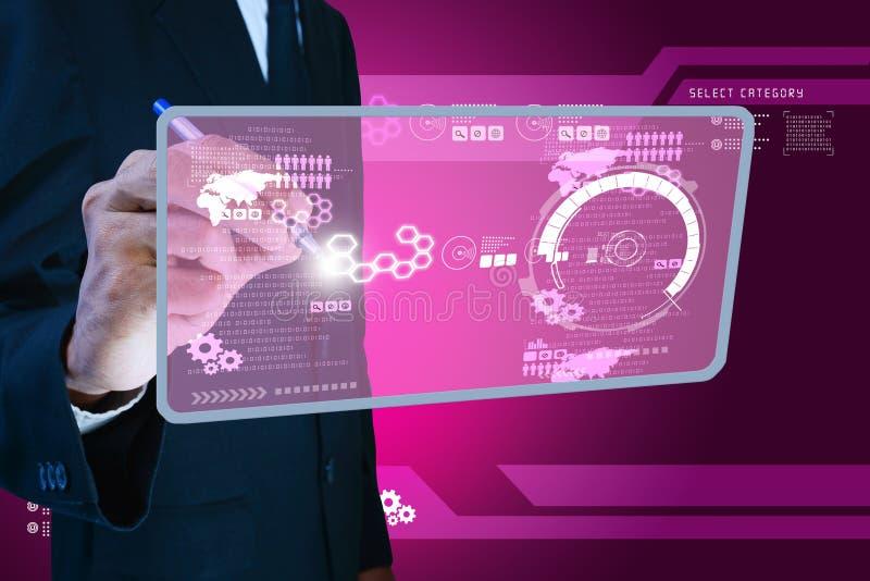 显示未来派技术的巧妙的手 库存图片