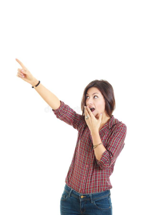 显示某事的惊奇的妇女点手指上升旁边倒空 库存照片