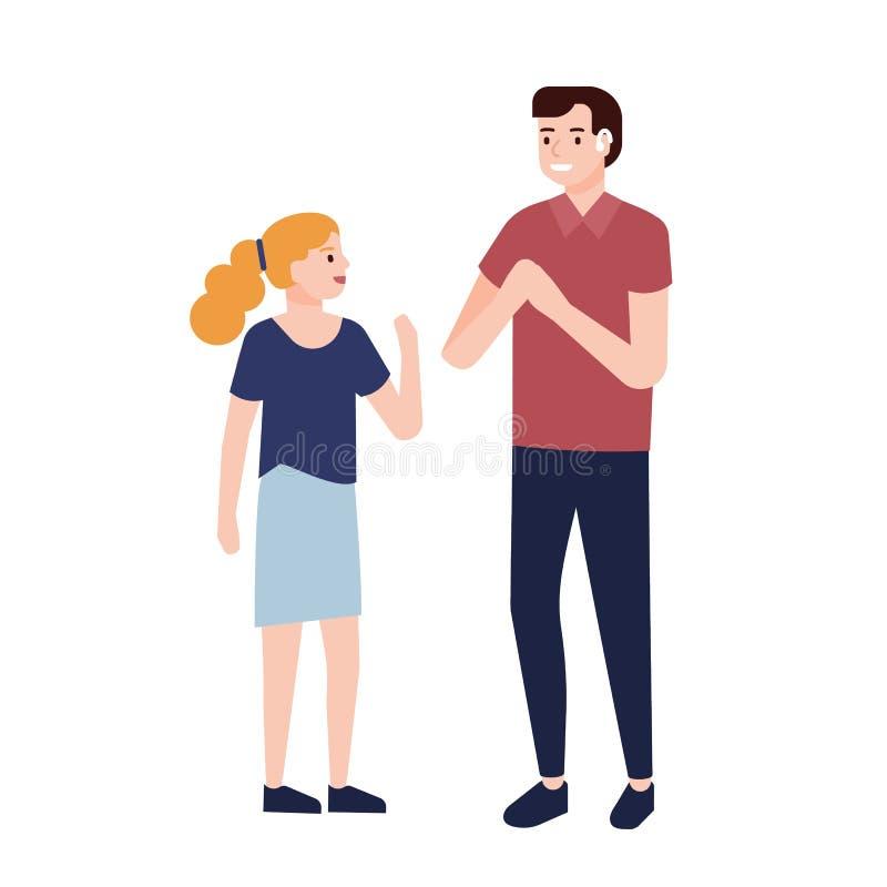 显示标志的微笑的聋人对女孩 与人的通信以聋或听力损伤 逗人喜爱 皇族释放例证