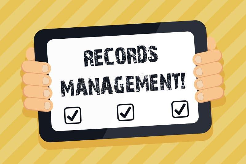 显示档案管理的文本标志 纪录和被提供的信息颜色片剂的概念性照片管理 向量例证