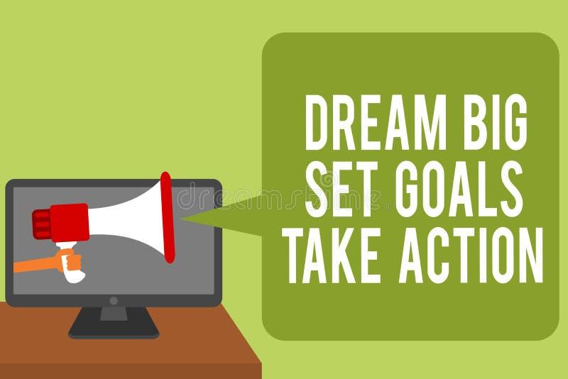 显示梦想大集合目标的概念性手文字采取行动 企业照片跟随您的梦想启发的文本刺激 图库摄影