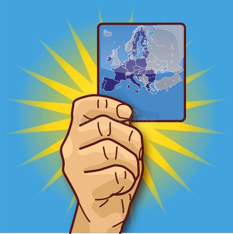 显示欧盟的地图的手 向量例证