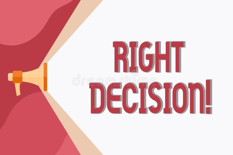 显示正确的决定的概念性手文字 陈列企业的照片做出好选择在考虑以后很多 库存例证