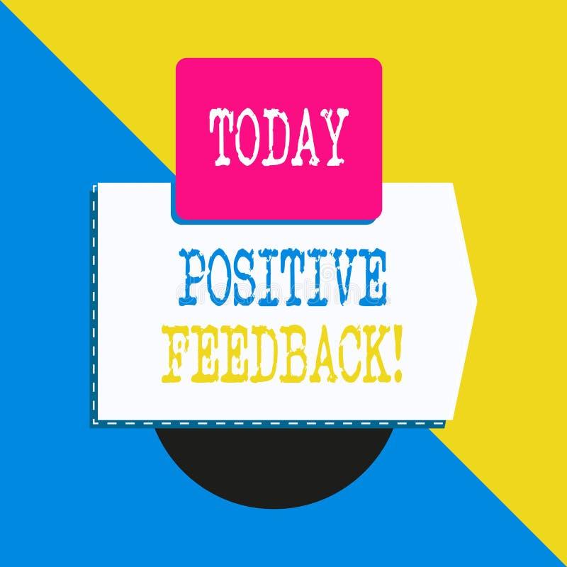 显示正面反馈的概念性手文字 企业好照片文本和来自满意的巨大评论 向量例证