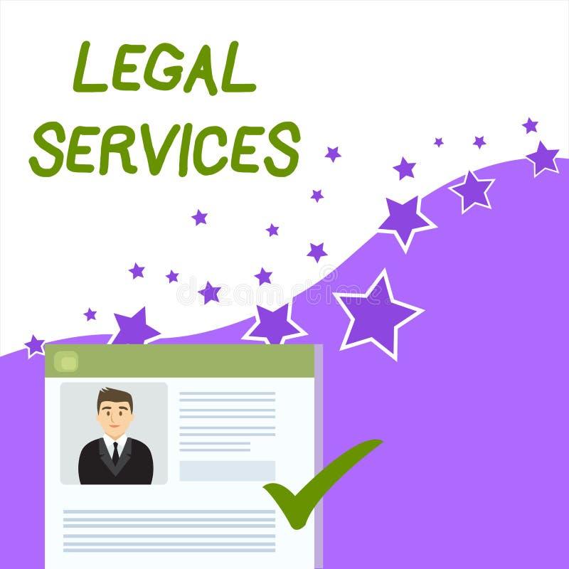 显示法律帮助的文本标志 提供存取对于正义公平的审判法律平等履历的概念性照片 库存例证