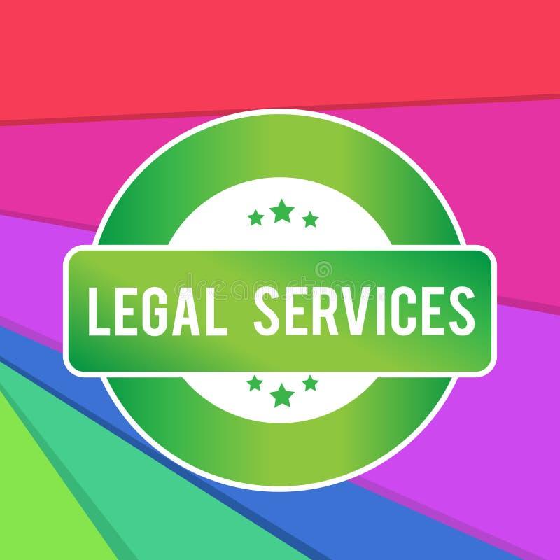 显示法律帮助的文本标志 提供存取对于正义公平的审判法律平等色的回合的概念性照片 皇族释放例证