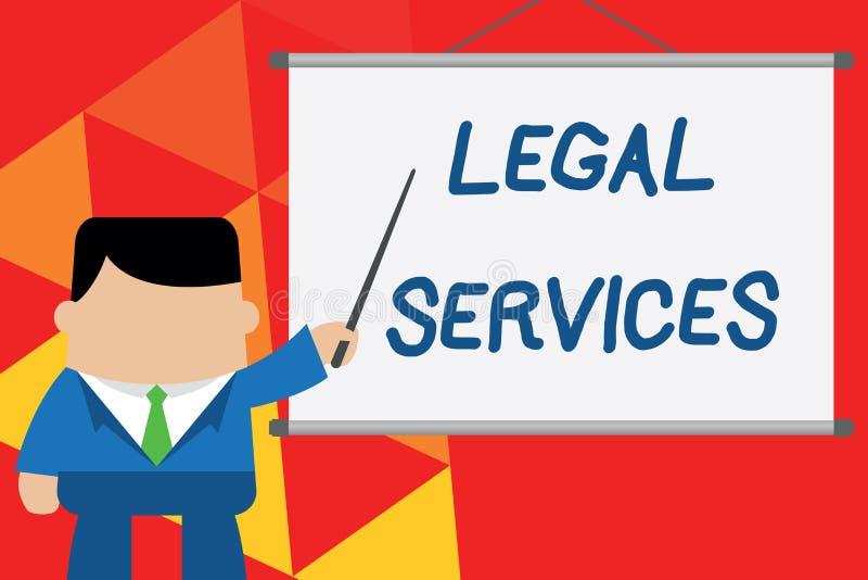 显示法律帮助的概念性手文字 企业提供存取对于正义公平的审判法律平等的照片文本 向量例证
