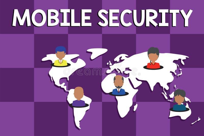 显示流动安全的文本标志 手机的概念性照片保护免受威胁和弱点 皇族释放例证