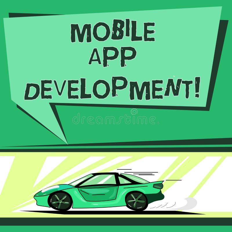 显示流动应用程序发展的文本标志 在写软件介入的概念性照片做法小配件汽车的与 皇族释放例证