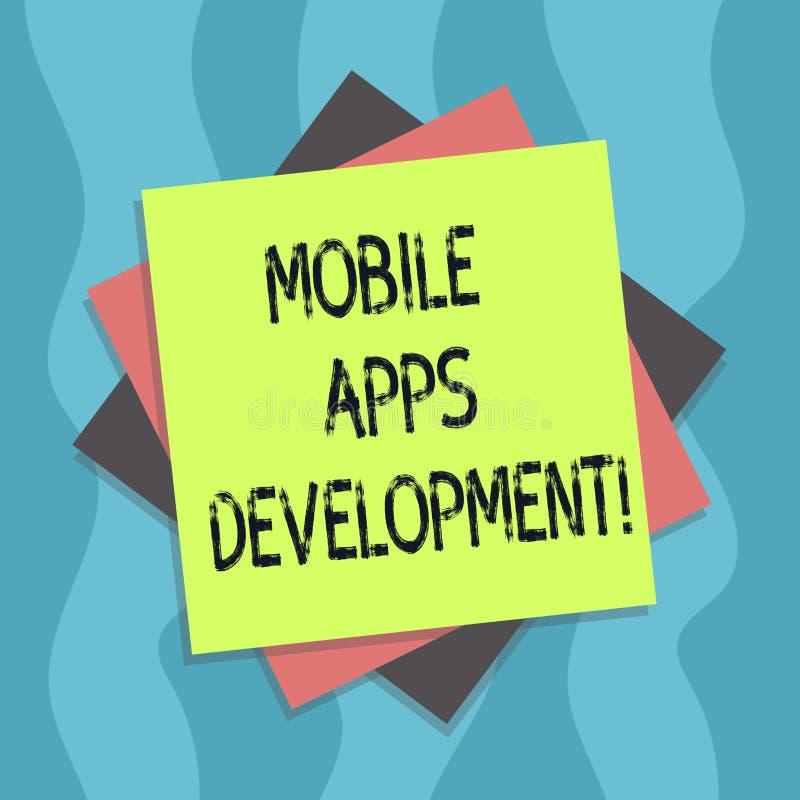 显示流动应用程序发展的概念性手文字 企业照片发展数字设备的流动应用程序的文本过程 向量例证