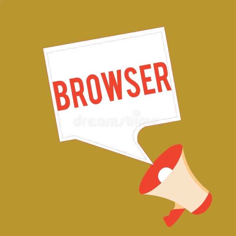 显示浏览器的概念性手文字 企业照片陈列的计算机程序图形用户界面显示 向量例证