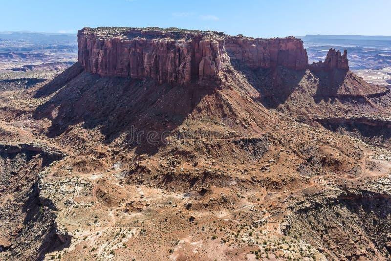 显示海岛的全景在天空mesa在Canyonlands国家公园 免版税库存照片
