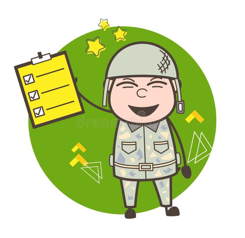 显示清单传染媒介例证的快乐的军队人 皇族释放例证